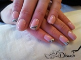 Pink nail polish with half zebra :)