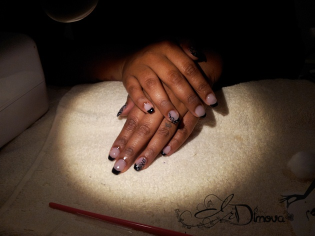 Acrylic with black french manicure