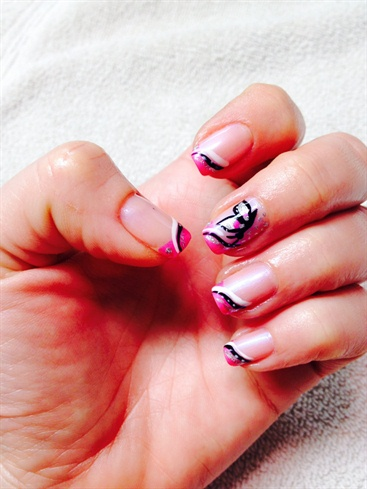 Pink French With Butterfly