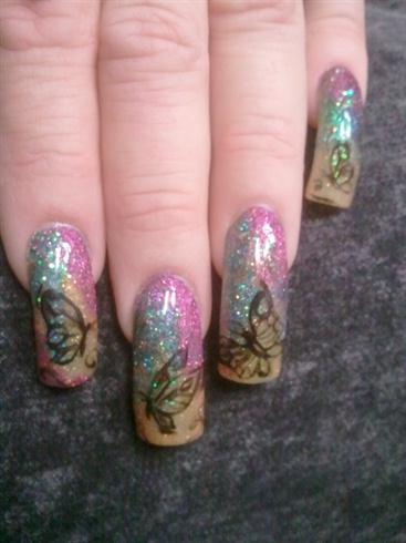 multi glitter butterfly
