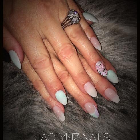 #pastel teal nails#almondnails #ombre#fr