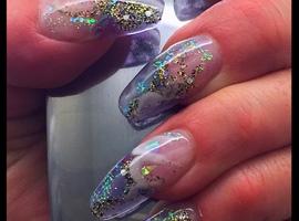 nail art: Clear Blue Tinted Acrylic