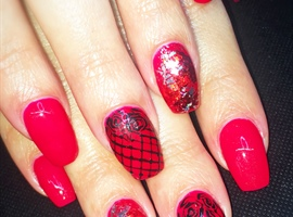 nail art: Red With Foil And Handpainted Lace