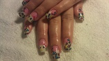 hello kitty and glitter nails