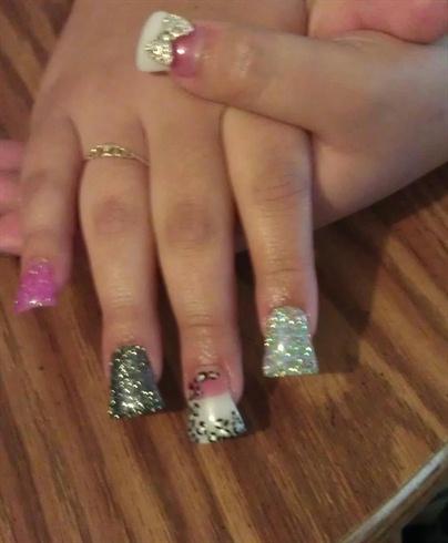 flare glitter nails