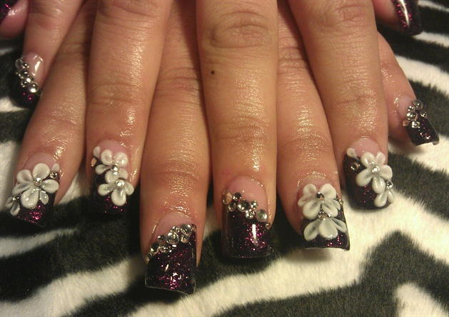 deep purple glitter with 3d flower