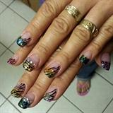 Eva's overlay glitter nails