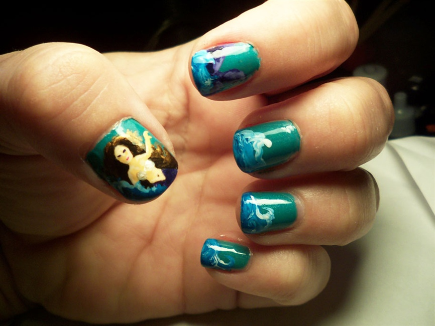 Mermaid and waves nails nail art gallery prinsesfo Image collections