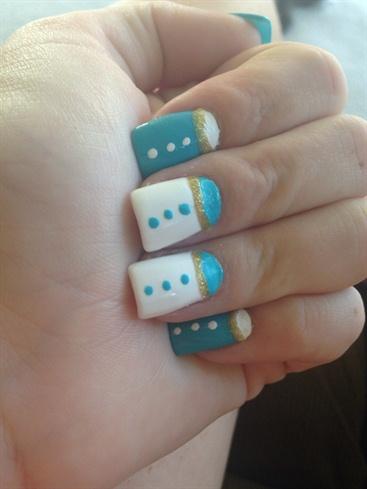 Blue White And Gold Glitter Nails