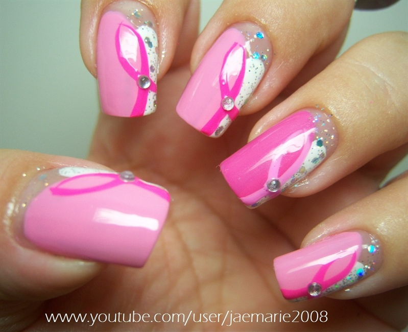Breast Cancer Awareness Nail Design - Nail Art Gallery