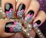 Lacey Hearts-Valentine's Nail Design