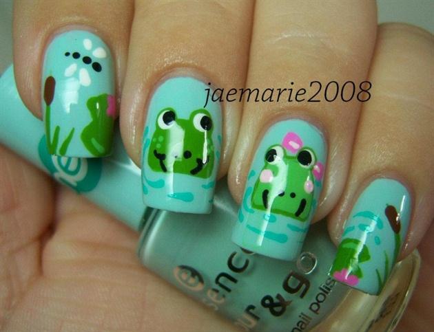 Meet me at the pond frog nail design nail art gallery meet me at the pond frog nail design prinsesfo Images