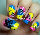 80's Funky Pop Star Nail Design