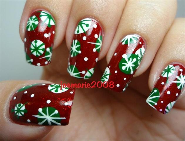 Retro Snowflakes Nail Design Nail Art Gallery