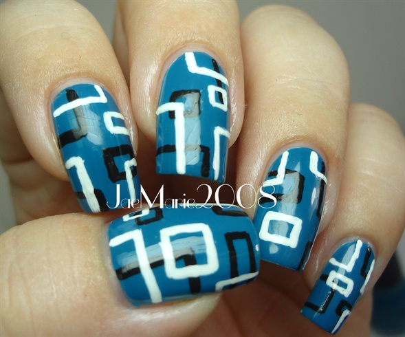 Retro Squares Nail Design