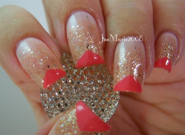 Edgy  Geometric Glitter Glam-Prom Nails