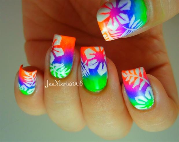 Summer Neon Nail Hawaiian Tropical Print