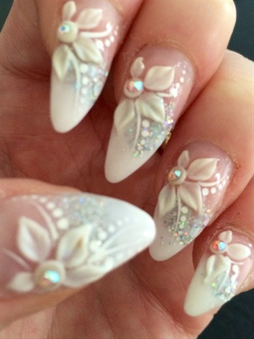 Almond Shaped 3d Wedding Nails Nail Art Gallery