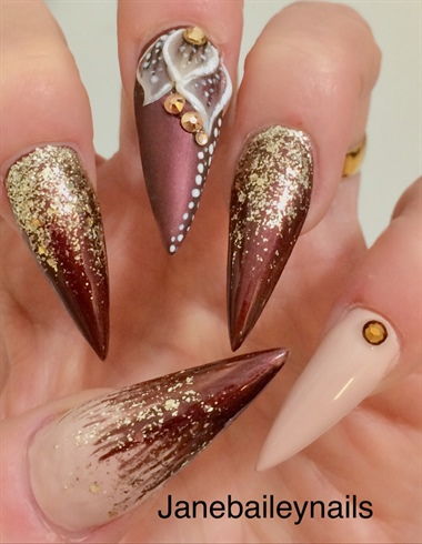 Chocolate Glitter Acrylic Stiletto NaIls