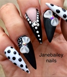 Black & White Stiletto Nails