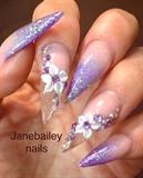 Purple/pink Ombré Stiletto 3D Acrylic Na