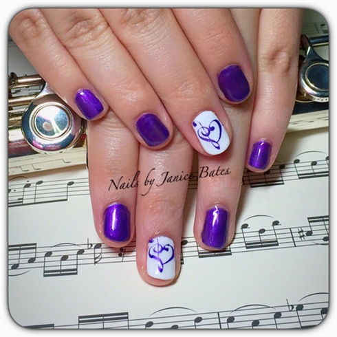 Purple Musical Heart Nails