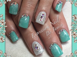 Aqua Nails With Sparkle