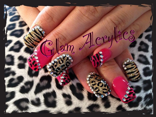 Leopard zebra pink diamontes