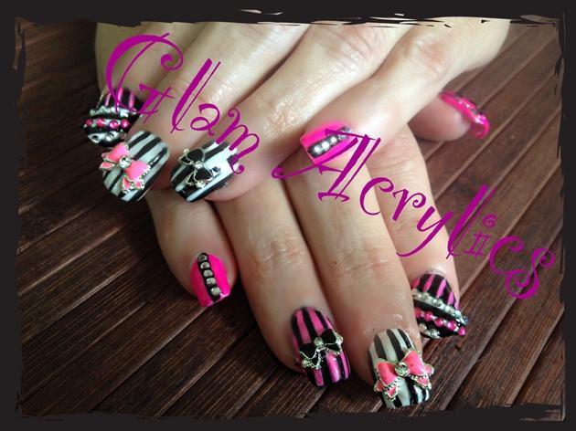 Pink, black, silver white, bows...