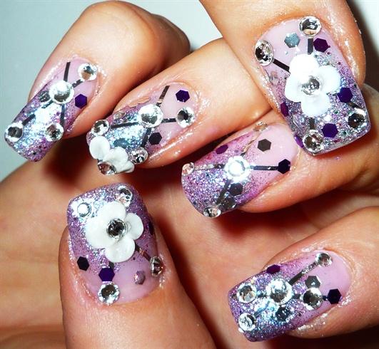 3d Flower gradation nail art