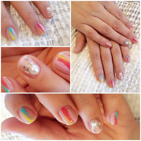 spring nail art, clear & pastel-Japan