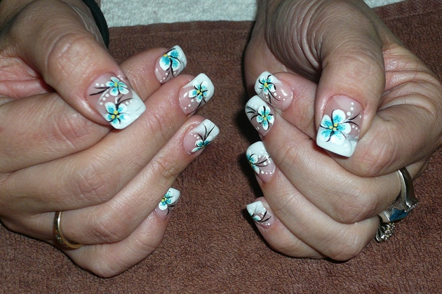 White turquoise flowers nail art gallery white turquoise flowers mightylinksfo