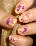 Purple Floral Butterfly Water Decals