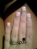 Feather Design Over Pink French