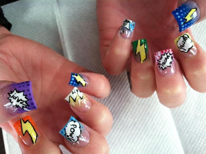 Comic Book Nail Art - Nail Art Gallery
