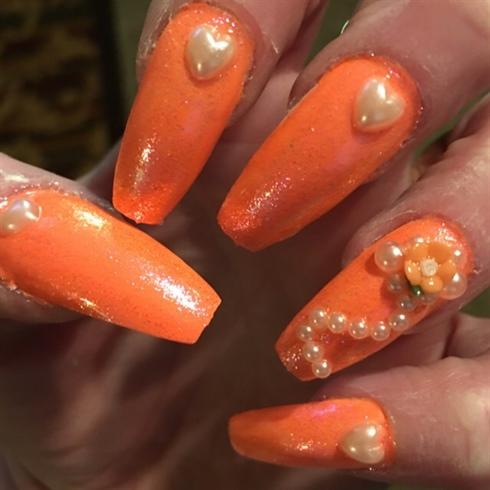 Neon Orange Flowers And Pearls