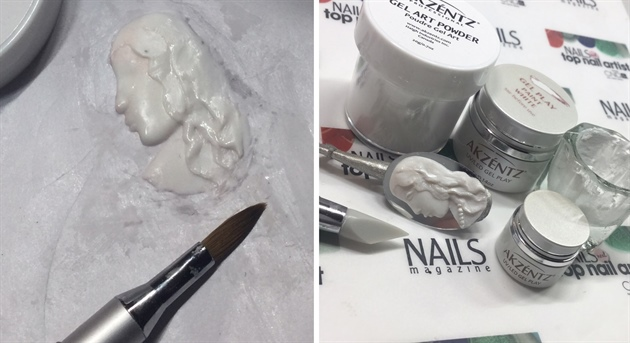 1: Mix Akzéntz Gel Art Powder with Akzéntz Gel Play Paint in the color white in a dappendish or similar to create a gel-paste for making 3D nailart. This is a very good method if you don't work with acrylic. Take a a pea-sized amount of the gel-paste and apply to a form-paper. Flatten it with a 3D brush washed in Isopropyl Alcohol. Shape with your brush till it look like a cameo. I first started shaping the outline and then the jawline. I played a lot with the material, so it didn't look anything like it was supposed to until the very end. To make a soft appearance and not having strokes from the brush use Isopropyl Alcohol on the brush. Gently brush very little amount of Akzéntz Pearlescent Silver Powder over and cure. 2: Apply to the mirror with nailglue