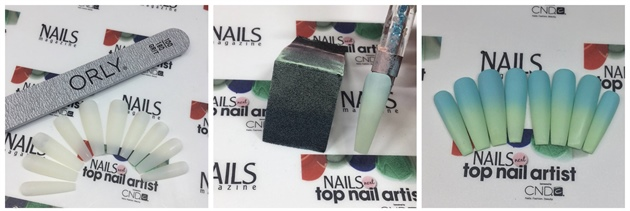 1: Shape the tips in a tapered square, using the 180 grit side of the ORLY file and refine with ORLY Buffer 2: Horisontal apply ORLY Nail Lacquer in the shades 'Forget Me Not' and 'Jealous, much?' on a makeup sponge and dap firm and fast onto the tip. Repeat 3 times depending on the color intensity wanted. Remember to let it airdry before repeating this step. 3: Once it's dried for 10 minutes, then coat and seal with ORLY Gel FX Topcoat, cure (1 minute in LED or 2 minutes in UV). Remove sticky layer using ORLY Gel FX Cleanser and buff with the