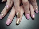 Baby Pink and Gold nail art
