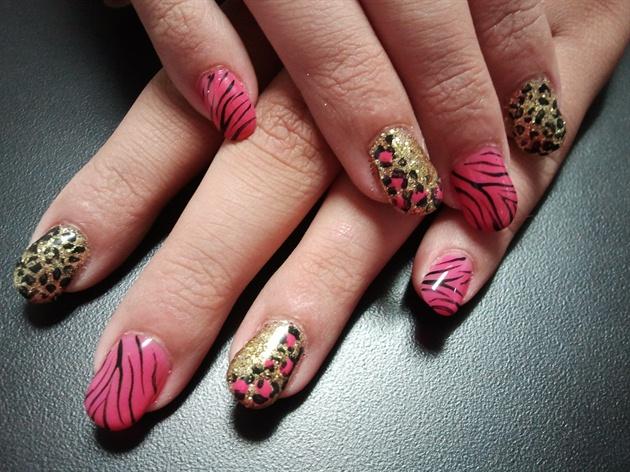 Hot Pink And Gold Cheetah And Zebra Nail Art Gallery