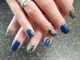 Zebra & cheetah in blue, taupe, & black