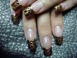 nails in metallic animal print