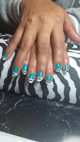 Aqua Blue And White Tip Nail Polish;)