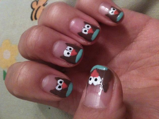 Owl Nail inspired by AMYakaCRAZY