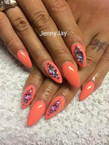 Coral swarovski nails