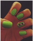 Neon Green With Purple Rhinestones