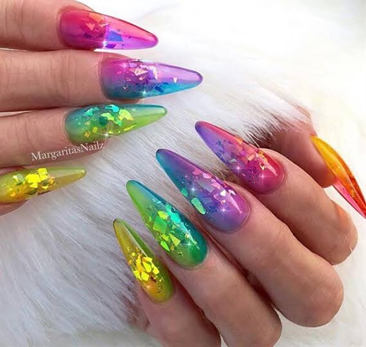 Rainbow long nails