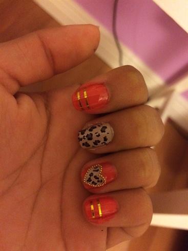 Red-orange And Cheetah Heart Nails