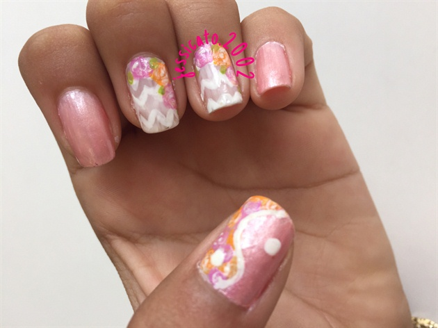 White Chevron Nails With Flowers