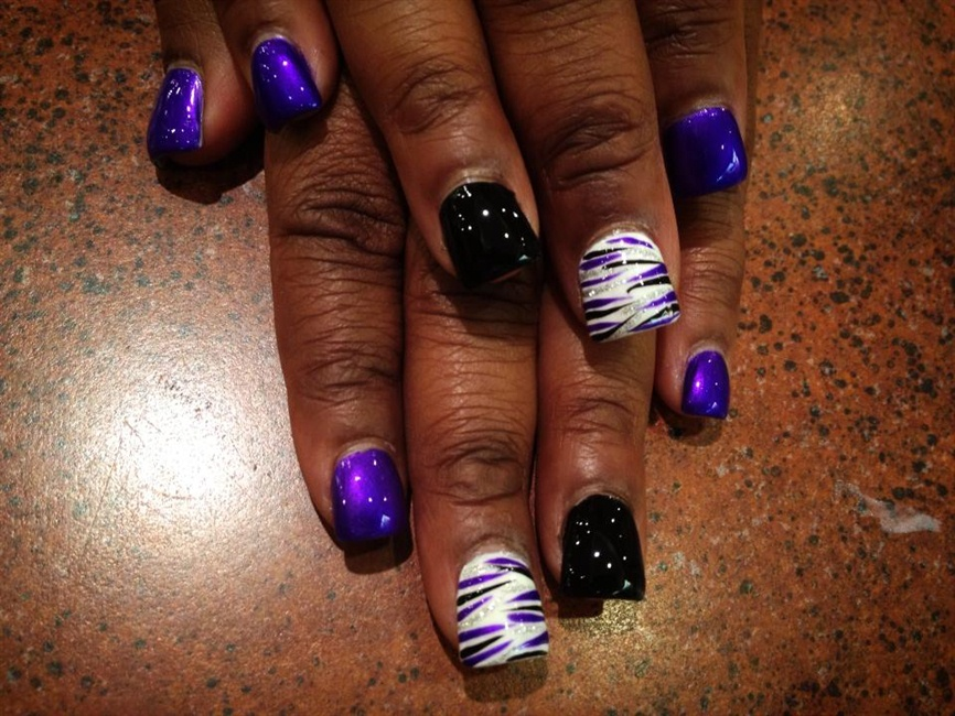 Purple Black Silver White Striped Nail Art Gallery